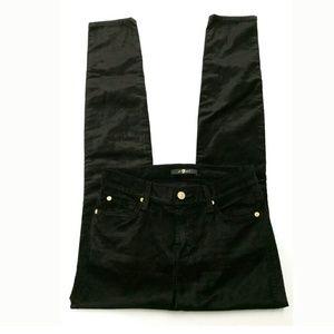 New 7 For All Mankind Black Velvet Skinny Jeans